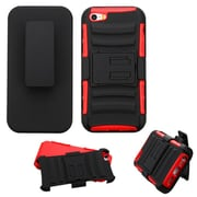 Insten Hard Dual Layer Plastic Silicone Case w/Holster For Apple iPhone SE / 5 / 5S - Black/Red
