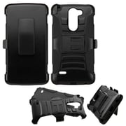 Insten Hard Hybrid Rugged Shockproof Plastic Silicone Case w/Holster For LG G Stylo - Black