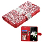 Insten Folio Leather Bling Cover Case w/card slot/Photo Display For LG Escape 3 / K7 / K8 - Red/Silver