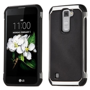 Insten Hybrid 2in1 Soft TPU Hard Plastic Leather Backing Case For LG Escape 3 / K7 / K8 / Treasure LTE - Black/Silver