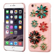 Insten Flowers Leather 3D Fabric Hard Case w/Diamond For Apple iPhone 6s Plus / 6 Plus - Pink/Colorful