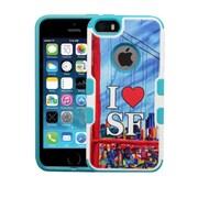 Insten I Love SFPop Art Hard Rubberized Cover Case For Apple iPhone SE 5S 5 - Blue/White