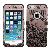 Insten Lace Flower Butterfly 2-Layer Hybrid Shockproof Cover Case For iPhone SE 5S 5 - Rose Gold/Black