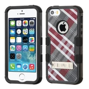 Insten Tuff Diagonal Plaid Hard Hybrid Silicone Case w/stand For Apple iPhone SE 5S 5 - Gray/Red