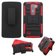Insten Hard Hybrid Rugged Shockproof Plastic Silicone Cover Case w/Holster For LG Magna/Volt 2 - Black/Red