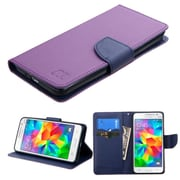 Insten Flip Leather Fabric Case w/stand/card slot For Samsung Galaxy Grand Prime - Purple/Blue