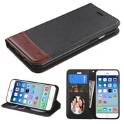 Insten Book-Style Leather Fabric Cover Case w/stand/card holder/Photo Display For Apple iPhone 6 - Black/Brown