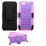Insten Hard Hybrid Rugged Shockproof Plastic Silicone Case w/Holster For Apple iPhone 6 6S - Purple/Pink