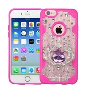 Insten Luxury Crown 3D Crystal Diamond Bling Diamante Hard Case Cover for iPhone 6s 6 - Clear/Hot Pink