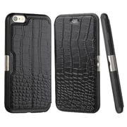 Insten Genuine Leather Crocodile Embossed Wallet Flip Case Stand Cover with Card Slot holder For iPhone 6s 6 - Black