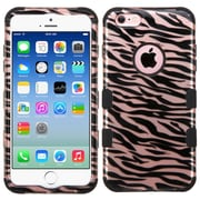 Insten Tuff Zebra Hard Hybrid Rubberized Silicone Cover Case For Apple iPhone 6/6s - Rose Gold/Black