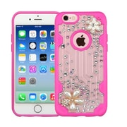 Insten Flowers Hard 3D Crystal Case w/Diamond For Apple iPhone 6/6s - Clear/Hot Pink