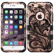 Insten Tuff Phoenix Flower Hybrid Soft Hard Case Cover (3-Piece Style) for iPhone 6s Plus / 6 Plus - Rose Gold/Black