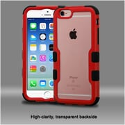 Insten Hard Dual Layer Crystal Silicone Case For Apple iPhone 6 / 6s - Clear/Red