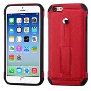 Insten Leather Dual Layer Fabric Silicone Case w/Ring stand For Apple iPhone 6 / 6s - Red/Black