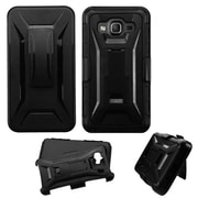 Insten Hard Hybrid Shockproof Dual Layer Case For Samsung Galaxy On5 - Black (with Kickstand Holster Clip)