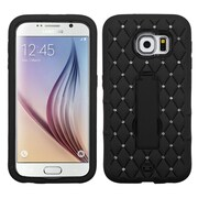 Insten Symbiosis Silicone Dual Layer Rubber Hard Case w/stand/Diamond For Samsung Galaxy S6 - Black