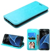 Insten Folio Wallet Leather Case with Card slot holder & Stand For Samsung Galaxy S7 Edge - Blue