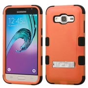 Insten Hard Hybrid Rubber Coated Silicone Case w/stand For Samsung Galaxy Amp Prime / J3 (2016) - Orange/Black