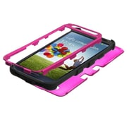 Insten Titanium Solid Hot Pink Black TUFF Hybrid Phone Case For SAMSUNG Galaxy S4 I9500