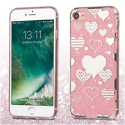 Insten Hearts Pink Glitter Clear Rubber Case Cover For Apple iPhone 7