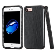 Insten Carbon Fiber Hard Hybrid 3-Layer Shockproof Shell Case For Apple iPhone 7 - Black