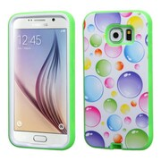 Insten Verge Rainbow Bubbles Hard Dual Layer Rubber Coated Silicone Case For Samsung Galaxy S6 - Green/Colorful