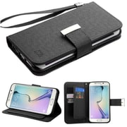 Insten Book-Style Leather Fabric Case Lanyard w/stand/card holder For Samsung Galaxy S6 Edge - Black