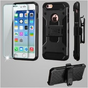 Insten Kinetic Hard Hybrid Holster Case (with Tempered Glass Screen Protector) For Apple iPhone 6 / 6s - Black