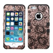 Insten Tuff Four-leaf Clover 2-Layer Hybrid Shockproof Cover Case For iPhone SE 5S 5 - Rose Gold/Black