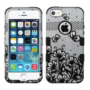 Insten Tuff Lace Flowers Hard Hybrid Rubber Coated Silicone Cover Case For Apple iPhone SE / 5 / 5S - Black/White