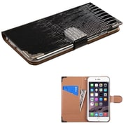 "Insten Leather Crocodile Skin Cover Case w/card holder/Diamond For Apple iPhone 6 Plus 5.5"" - Black/Silver"