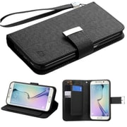 Insten Book-Style Leather Fabric Cover Case Lanyard w/stand/card slot For Samsung Galaxy S6 - Black