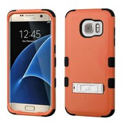 Insten Hard Hybrid Rubber Silicone Cover Case with stand For Samsung Galaxy S7 Edge - Orange/Black