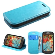 Insten Folio Leather Fabric Cover Case w/stand/card holder For Samsung Galaxy Light - Blue