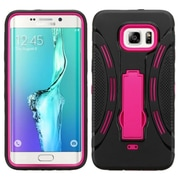 Insten Symbiosis Soft Hybrid Rubber Hard Case with Stand For Samsung Galaxy S6 Edge Plus - Black/Hot Pink