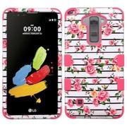 Insten Tuff Fresh Roses Hard Dual Layer Hybrid Case For LG G Stylo 2 / Stylus 2 - Pink/White