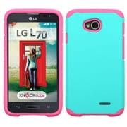 Insten Hard Dual Layer Rubberized Cover Case For LG Optimus Exceed 2 VS450PP Verizon/Optimus L70/Realm - Teal/Hot Pink