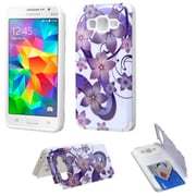 Insten Hibiscus Flowers Hard Case w/card slot For Samsung Galaxy Grand Prime - Purple/White