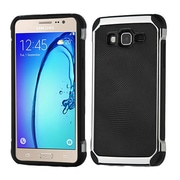 Insten Hybrid 2in1 Soft TPU Hard Plastic Leather Backing Case For Samsung Galaxy On5 - Black/Silver
