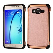Insten 2-Layer Hybrid TPU / Hard Plastic Leather Backing Case For Samsung Galaxy On5 - Rose Gold/Black