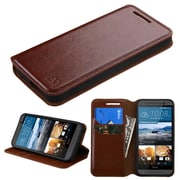Insten Folio Leather Fabric Cover Case w/stand/card slot For HTC One M9 - Brown