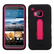 Insten Symbiosis Rubber Dual Layer Hard Case w/stand For HTC One M9 - Black/Hot Pink
