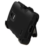Insten Hard Dual Layer Rubber Coated Silicone Cover Case w/Holster For LG Leon/Risio/Tribute 2 - Black