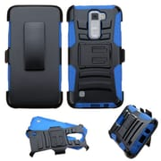Insten Hard Dual Layer Plastic Silicone Cover Case w/Holster For LG K7 K8 Tribute 5 - Black/Blue