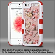 Insten Flowers Hard Dual Layer Silicone Case For Apple iPhone SE / 5 / 5S - Pink/White