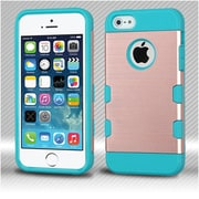 Insten Slim Dual Layer Hybrid Shockproof Protection Case TPU Hard Shell Cover For iPhone SE 5 5S - Rose Gold/Teal