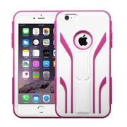 Insten Extreme Tuff Hard Dual Layer Rubber Coated Silicone Cover Case For Apple iPhone 6 Plus - White/Hot Pink