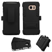 Insten Hard Dual Layer Rubberized Silicone Cover Case w/stand/Holster For Samsung Galaxy S7 Edge - Black