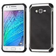 Insten Hybrid 2in1 Soft TPU Hard Plastic Leather Backing Case For Samsung Galaxy J7 (2015) - Black/Silver